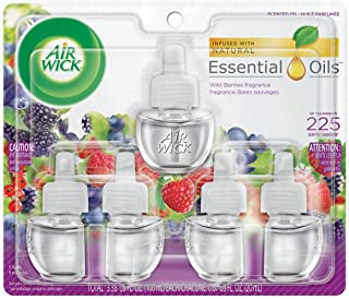 Air Wick Plug in Scented Oil 5 Refills, Wild Berries, (5x0.67oz), Essential Oils, Air Freshener