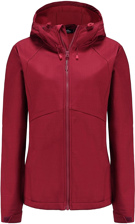 svacuam Women's Fleece Lined Softshell Waterproof Jacket Lightweight Anorak Hiking Coat