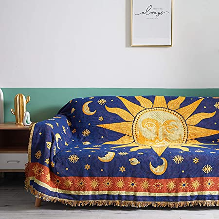 MayNest Sun And Moon Stars Hippie Throw Blanket Celestial Tapestry Double-sided Reversible Woven Cotton Home Decor Bedding Chair Couch Recliner Cover Loveseat Rug Oversized Tassels Blue Yellow (91x71)