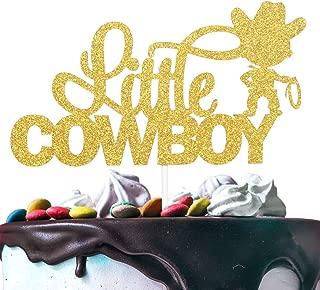 Little Cowboy Birthday Cake Topper - Gold Glitter Lasso Roper Rodeo Cake Décor - Baby Shower Boys Birthday Western Wild West Farm Theme Party Decoration