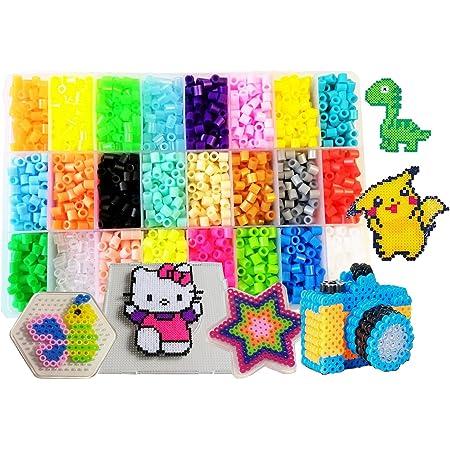 Perles à Repasser-4500 Perles 5mm 24 couleurs (4 brille dans le noir)3 Plaques+75modèle imaginer(15 taille réelle)+5feuilles de papier +2Brucelles+Sac d'accessoires bricolage Hama beads Compatible