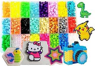 Perles à Repasser-4500 Perles 5mm 24 couleurs (4 brille dans le noir)3 Plaques+75modèle imaginer(15 taille réelle)+5feuill...