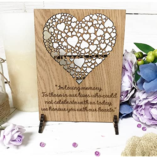 Wedding Sign Memorial for Heaven Loved Ones | we Remember The one | in Loving Memory for Candle/Cards Table Alternative to Card Signs/Rustic Wood Wooden | Remembrance Ceremony