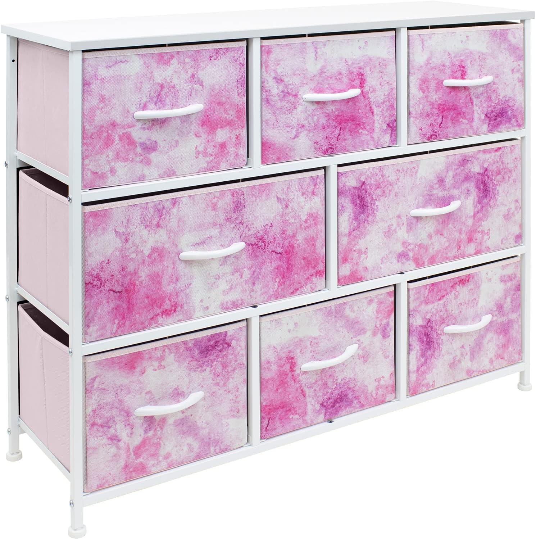 Sorbus Dresser - Furniture Storage Chest for Kids Clothing Organization, Large Organizer for Playroom, Nurseries, Bedroom, Hallway, Closet, Steel Iron Frame, Wood Top, 8 Fabric Drawers (Tie-dye Pink)
