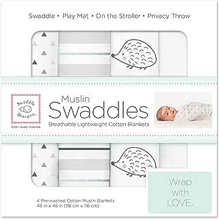 SwaddleDesigns Cotton Muslin Swaddle Blankets, Set of 4, Hedgehog, Dark Gray and Sterling