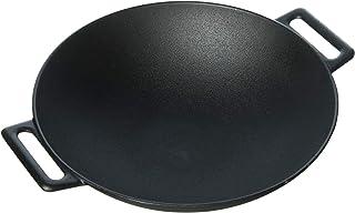 Jim Beam JB0200 12'' Pre Seasoned Heavy Duty Construction Cast Iron Grilling Wok, Large, Black