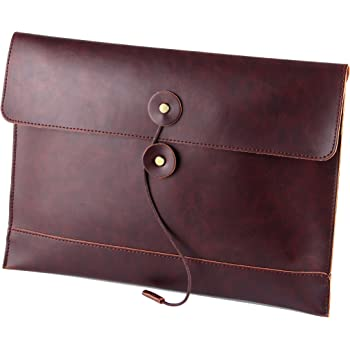 """men woman pu leather multifunction office documents bags A4 paper file pouch envelope bag conference, Brown, 13.8""""(L)x9.8""""(H) x 0.2""""(W)"""