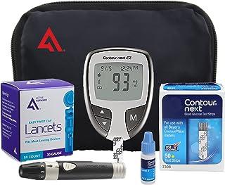 AF Contour NEXT EZ Diabetes Testing Kit | Contour NEXT EZ Blood Glucose Meter, 50 Contour NEXT Blood Glucose Test Strips, 50 Lancets, Lancing Device, Control Solution, Log Book, User Manuals and Pouch