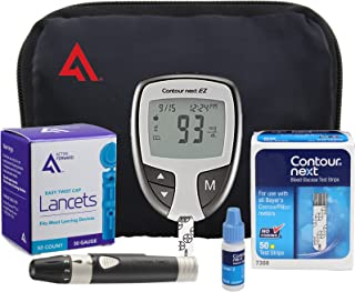 AF Contour NEXT EZ Diabetes Testing Kit | Contour NEXT EZ Blood Glucose Meter, 50 Contour NEXT Blood Glucose Test Strips, 50 Lancets, Lancing Device, Control Solution, Log Book, User Manuals and Pouch