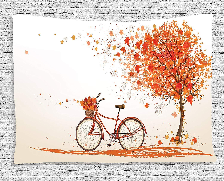 Decoración de bicicletas Tapiz, árbol de otoño con bicicleta vieja envejecida y árbol de otoño Día de noviembre Parque de otoño Parque Naturaleza Decoración para el hogar, Colgante de pared para dormi: