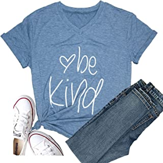 Hellopopgo Be Kind Women Casual Short Sleeve Summer Soft T-Shirt Blouse Tee Tops