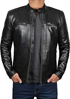 Decrum Motorcycle Jackets for Men - Black Slim Fit Biker Leather Jacket Mens
