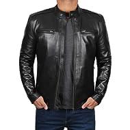Decrum Motorcycle Jacket for Men... Decrum Motorcycle Jacket for Men - Black Slim Fit Biker Leather Jacket Men