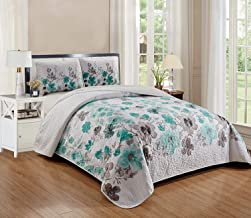 Smart Linen Reversible Coverlet Bedspread Bedding Set Oversize Bermuda Flower Floral Bed Cover New # Lily (Turquoise, Ful...