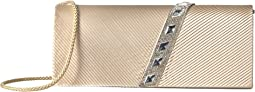 Nancy Satin Pleated Clutch with Rhinestones
