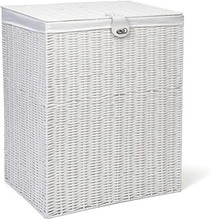 ARPAN Medium Resin Laundry Clothes Lid Storage Basket with Removable Lining, White