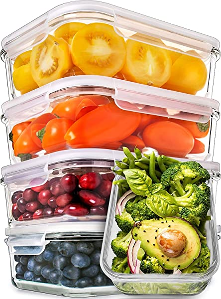 Prep Naturals Glass Meal Prep Containers Food Prep Containers With Lids Meal Prep Food Storage Containers Airtight Lunch Containers Portion Control Containers Bpa Free 5 Pack 30 Ounce