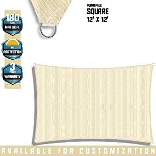 Sunshades Depot 12' x 12' Sun Shade Sail Square Permeable Canopy Tan Beige Custom Size Available Commercial Standard