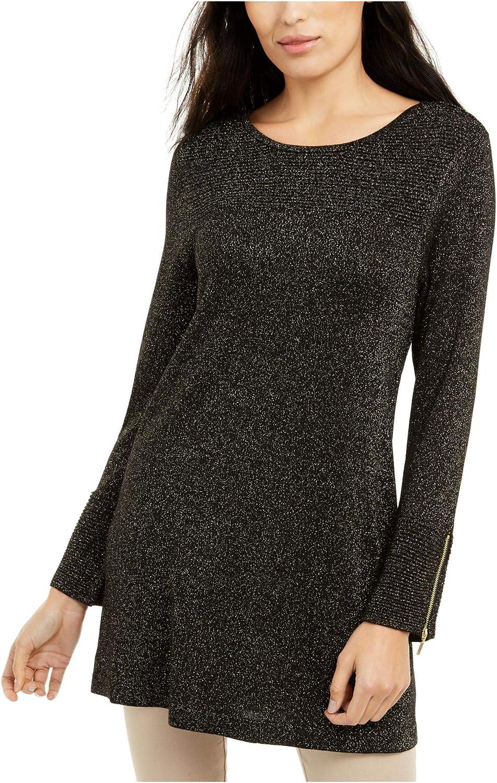 Alfani Women's Sweater Tunic Metallic Ottoman Zip-Sleeve Black XL