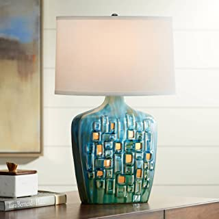 Vincent Modern Table Lamp with Nightlight LED Blue Ceramic White Oval Shade for Living Room Bedroom Bedside Nightstand Office Family - Possini Euro Design
