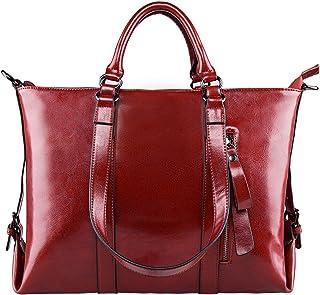 S-ZONE Damen Handtasche 3 Weg Tragen Echtes Leder Große Shopper Laptoptasche Schultertasche Aktentasche für Büro Schule Einkaufen Reisen