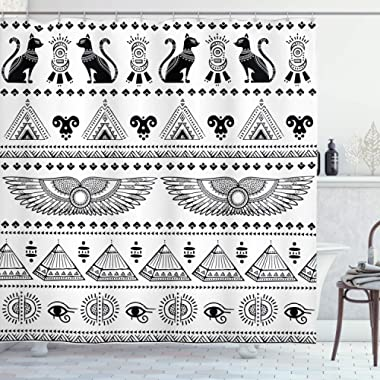 Ambesonne Egyptian Print Shower Curtain, Art Pattern with Egypt Historical Architecture Picture, Cloth Fabric Bathroom Decor Set with Hooks, 75  Long, White and Black