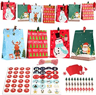 Calendrier de l'Avent à remplir, 24 Noël Calendrier Sacs, sacs de Noël les enfants, DIY Noël Cadeaux Sacs pour Décoration,...