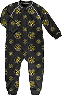 MLS by Outerstuff Toddler Sleepwear Zip Up Coverall, Black, 4T, Columbus Crew