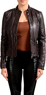 Just Cavalli Women's Purple Lightly Insulated 100% Leather Jacket US S IT 40