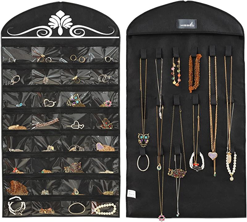 Misslo Jewelry Hanging Non Woven Organizer Holder 32 Pockets 18 Hook And Loops Black