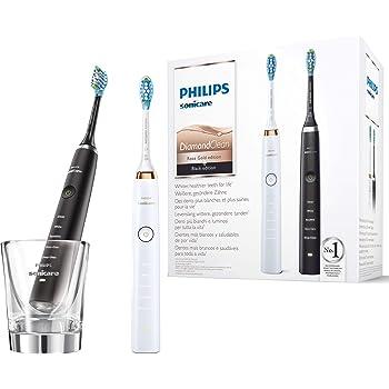 Philips Sonicare DiamondClean Elektrische Zahnbürste Doppelpack HX939240, 2 Schallzahnbürsten mit 5 Putzprogrammen und Ladeglas, rose goldschwarz