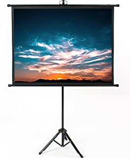 VIVO 50 inch Mini Portable Indoor Outdoor Projector Screen, 50 inch Diagonal Projection   HD 4:3 Projection Pull Up Foldable Stand Tripod (PS-T-050B)