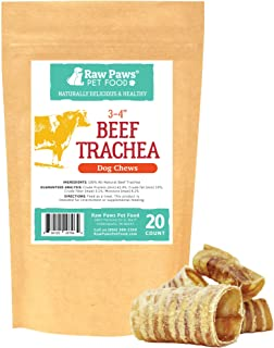 Raw Paws Premium Beef Trachea for Dogs - Packed in USA - Dehydrated Beef Trachea Chews from Free-Range, Grass-Fed Cows - Trachea Dog Treats are a Healthy Rawhide Alternative for Dogs