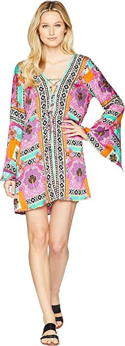 "Tribal Mosaic ""Waikiki"" Split Sleeve Lace-Up Tunic Cover-Up"
