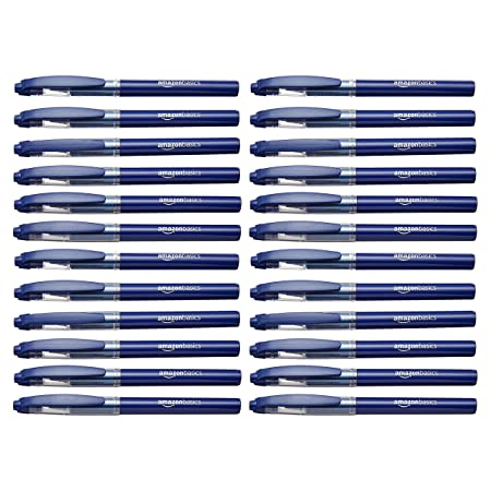 Amazon Basics Rollerball Pen, Micro Point (0.5mm), Blue, 24 Pack