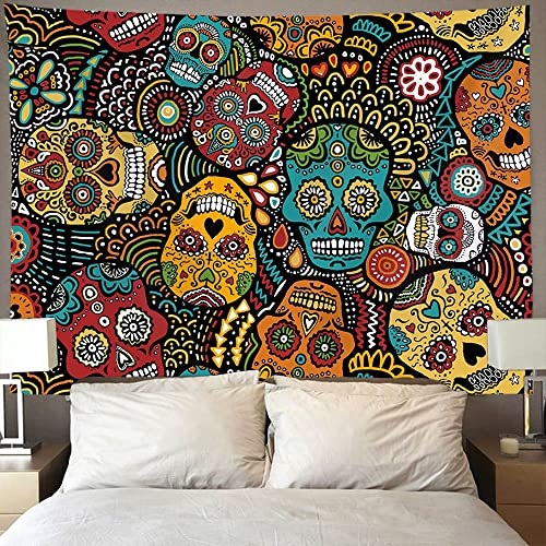 AMERICAN TANG Mexican Sugar Skulls Wall Tapestry Hippie Art Hanging Home Decor Extra Large