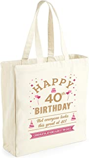 Bolsa de lona de algodón de 40 cumpleaños - Para mujer - Como regalo, recuerdo o para hacer la compra - Natural - 33 x 42 x 19cm