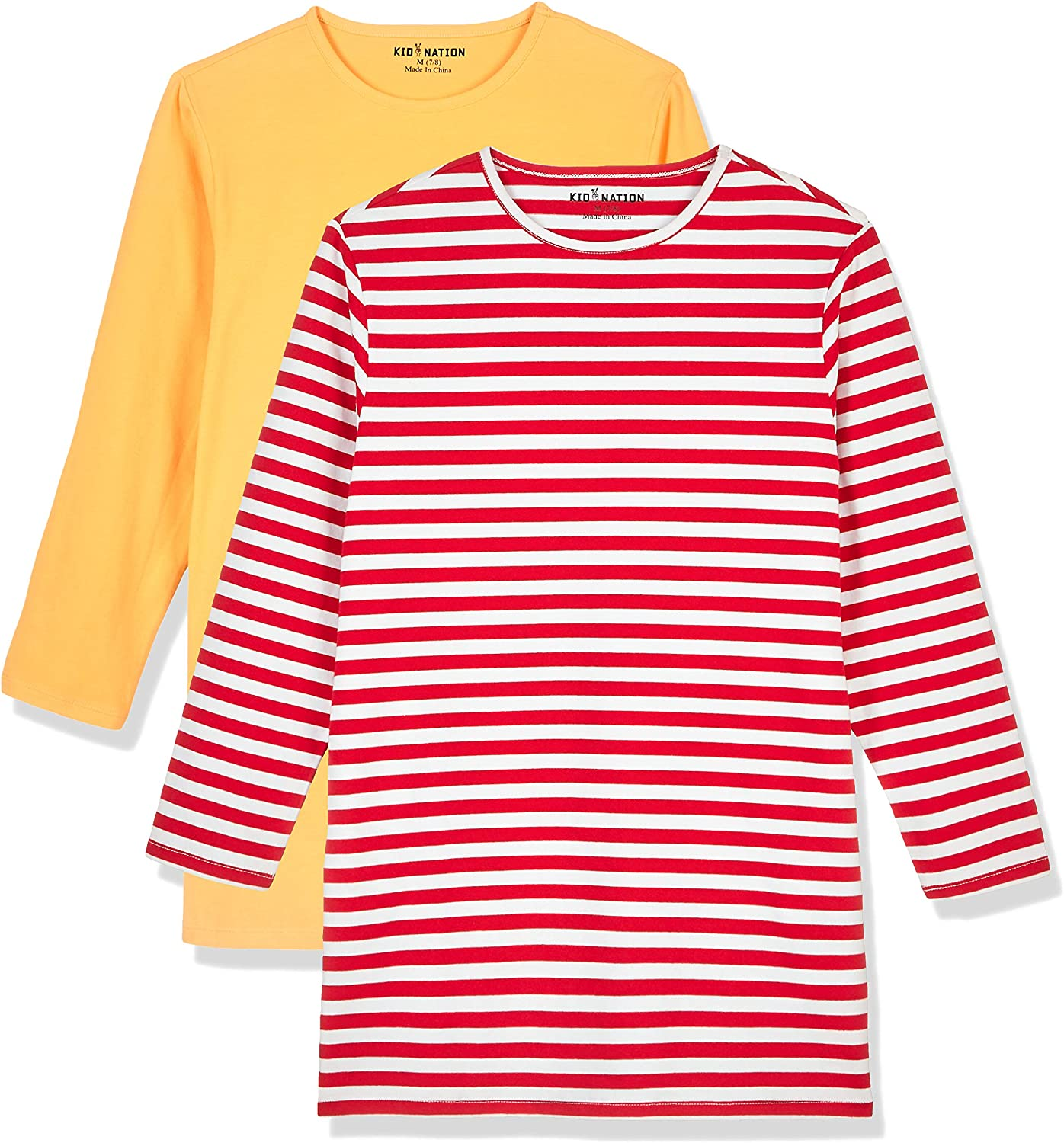 Kid Nation Girls Yarn Dyed Stripe Long Sleeve Crew Neck Dress with Side Pockets 4-12 Years