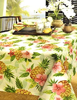 Tommy-Bahama Designs by Home Indoor/Outdoor Water Repellent 52 X 70 in Fabric Tablecloth | Features Lush Tropical Blooms and Pineapples | Sweet Life