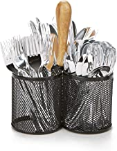 Mind Reader 3CIRMESH-BLK 3 Section Mesh, 3 Cup Utensils Caddy, Cutlery, Serve Ware Holder, Flatware and Silverware Organizer, Forks, Spoons, Knives, Dining Table, Countertops, Kitchen-Black, Bamboo
