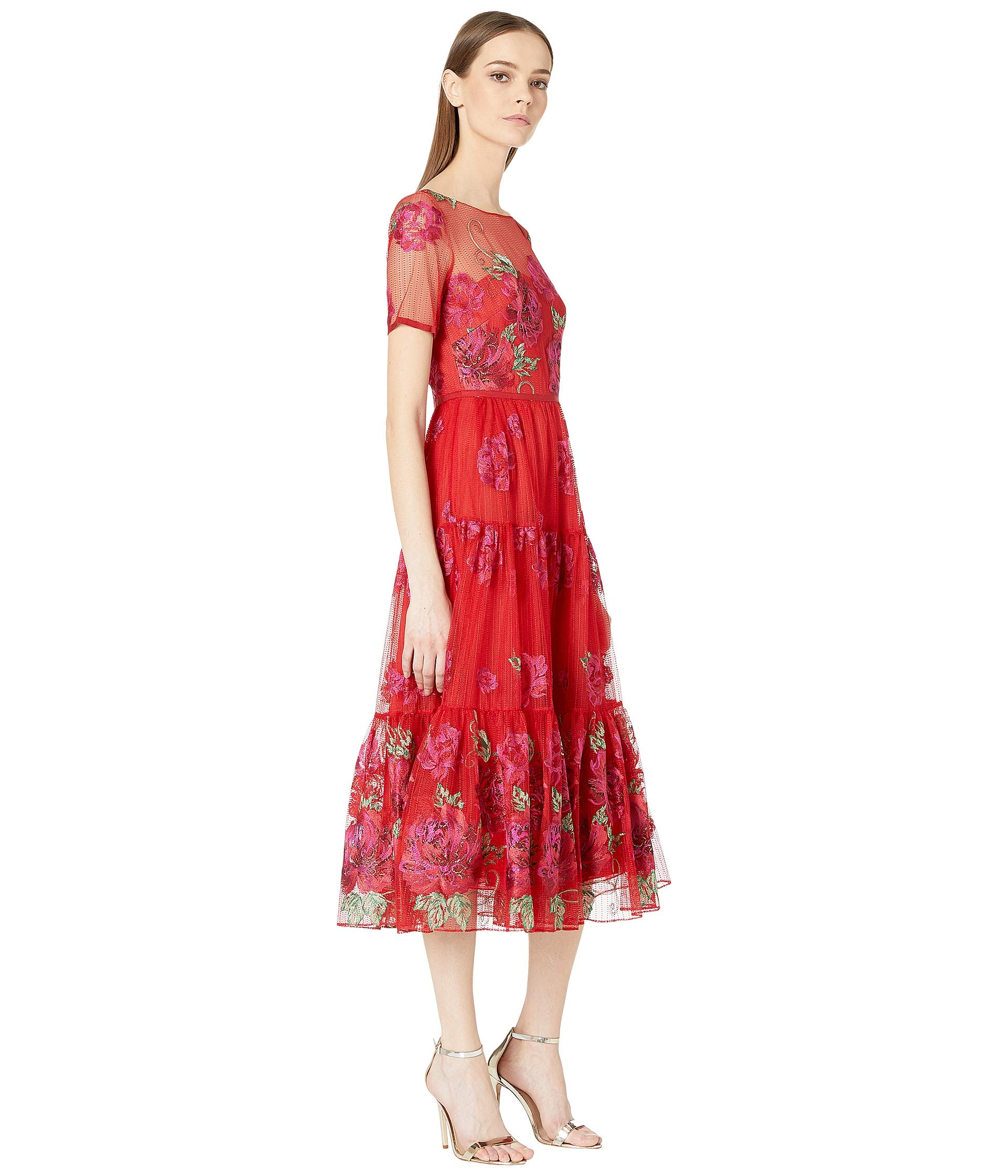 bdce93c5 Marchesa Notte Short Sleeve Floral Embroidered Tea-Length Gown with Trim