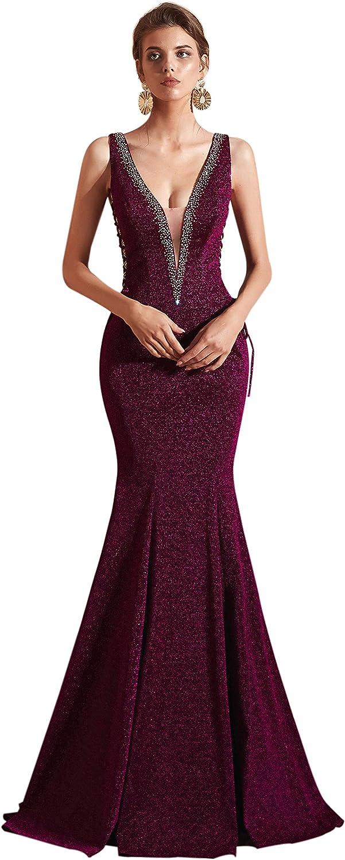Ikerenwedding Women's VNeck Beaded Sequins Laceup Mermaid Evening Dress