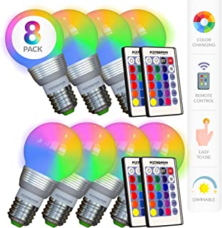 Kobra LED Color Changing Light Bulb with Remote Control (8-Pack) - 16 Different Color Choices Smooth, Fade, Flash or Strobe Mode - Smart Remote Lightbulb - RGB & Multi Colored - Makes a Perfect Gift