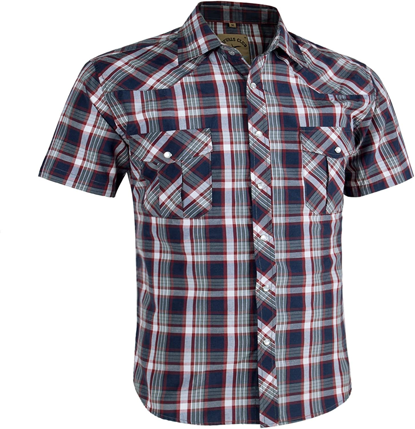 Coevals Club Men's Casual Plaid Pearl Button Snap Front Short Sleeve Shirt Regular Fit (Red/Gray #3, 2XL)