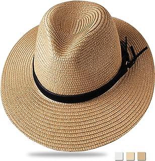 4db8991698f35 FURTALK Panama Hat Sun Hats for Women Men Wide Brim Fedora Straw Beach Hat  UV UPF