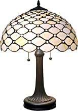 "Amora Lighting Tiffany Style Table Lamp Banker Jeweled 26"" Tall Glass White Yellow Stains Antique Vintage Light Decor Nigh..."