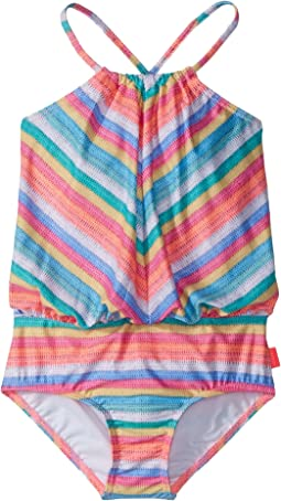 Seafolly Kids - Candy Pop Stripe Blouson Tank One-Piece (Toddler/Little Kids)