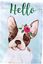 Lantern Hill Hello Boston Terrier Puppy Garden Flag 12 inches by 18 inches; Double Sided Reads Correctly Both Sides