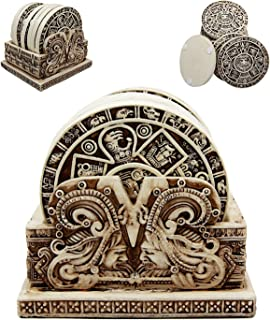 Ancient Aztec Demonic Gods Warrior Rank Symbols Set of 6 Coasters With Holder Figurine