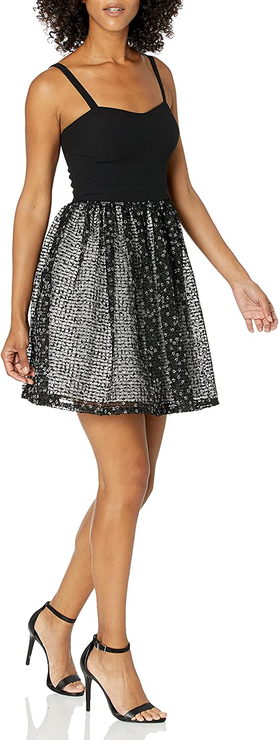 Aidan by Aidan Mattox Women's Cut-Out Stretch Top Dress with Lace Party Skirt